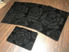 ROMANY WASHABLES TRAVELLER MATS SETS 4PCS NON SLIP NEW ROSES SUPER THICK BLACK